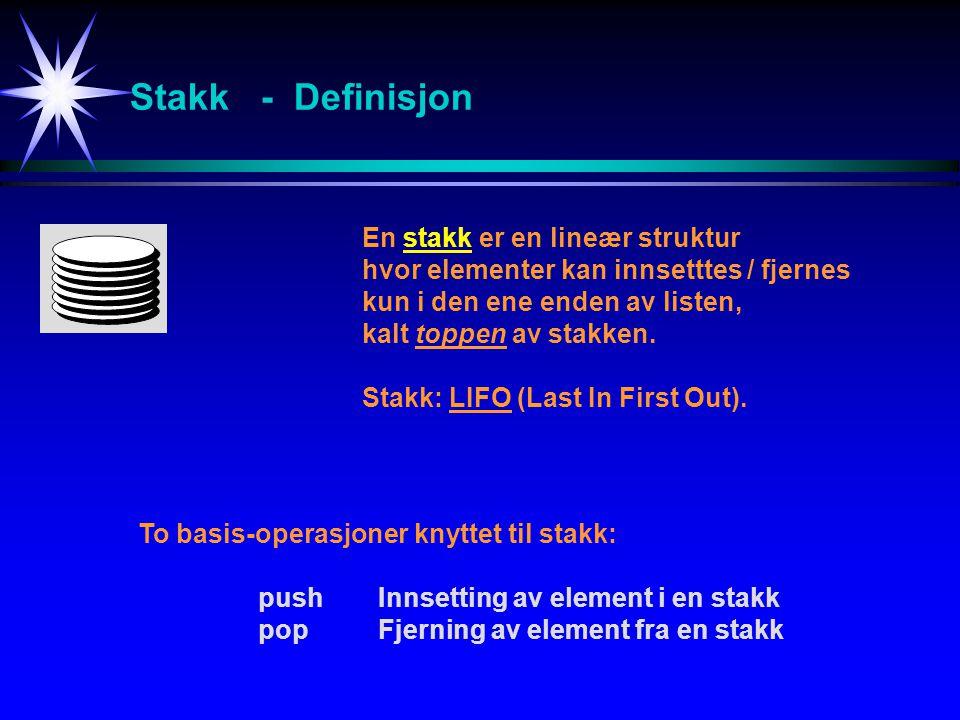 Stakk - Definisjon En stakk er en lineær struktur hvor elementer kan innsetttes / fjernes kun i den ene enden av listen, kalt toppen av stakken.