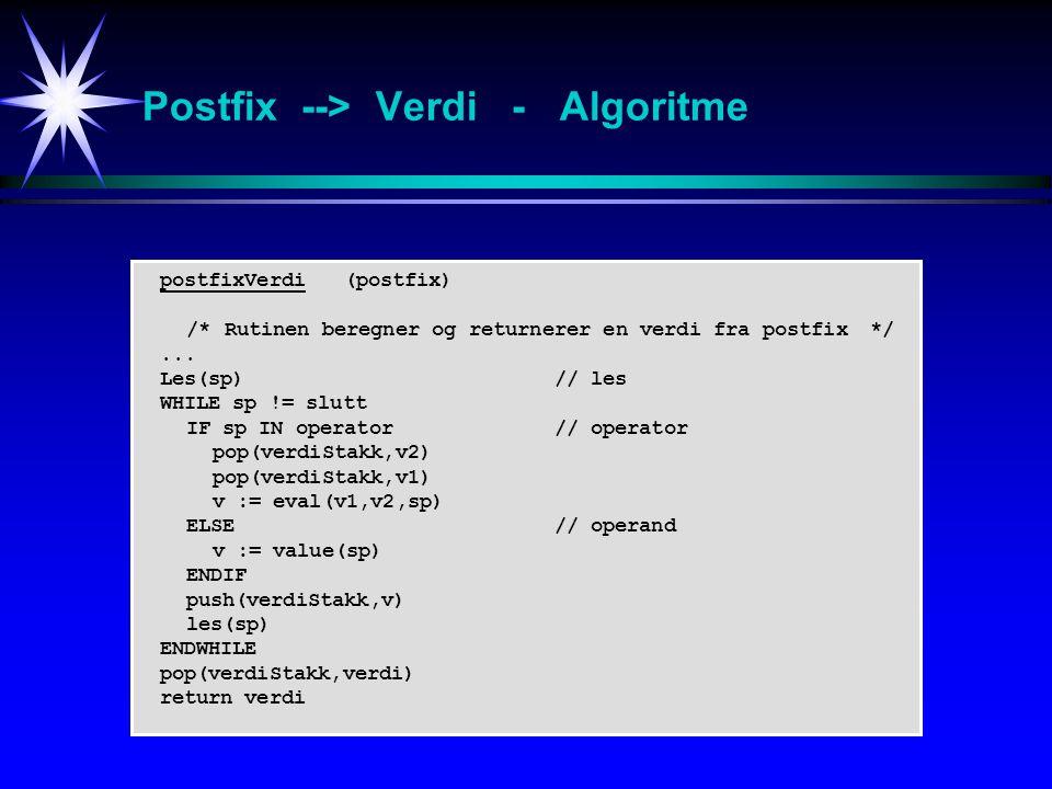 postfixVerdi (postfix) /* Rutinen beregner og returnerer en verdi fra postfix*/...