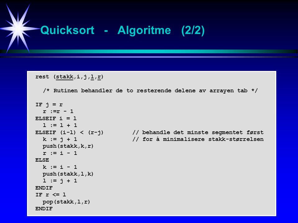 rest (stakk,i,j,l,r) /* Rutinen behandler de to resterende delene av arrayen tab */ IF j = r r :=r - 1 ELSEIF i = l l := l + 1 ELSEIF (i-l) < (r-j)// behandle det minste segmentet først k := j + 1 // for å minimalisere stakk-størrelsen push(stakk,k,r) r := i - 1 ELSE k := i - 1 push(stakk,l,k) l := j + 1 ENDIF IF r <= l pop(stakk,l,r) ENDIF Quicksort - Algoritme (2/2)