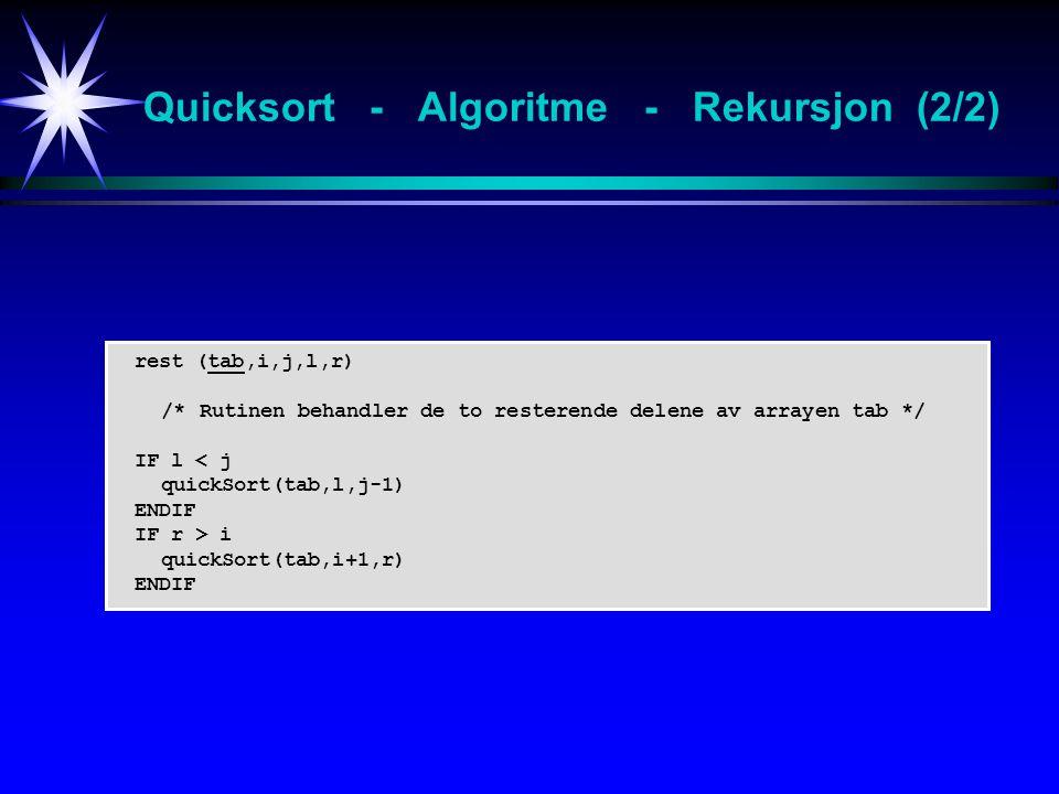 rest (tab,i,j,l,r) /* Rutinen behandler de to resterende delene av arrayen tab */ IF l < j quickSort(tab,l,j-1) ENDIF IF r > i quickSort(tab,i+1,r) ENDIF Quicksort - Algoritme - Rekursjon (2/2)