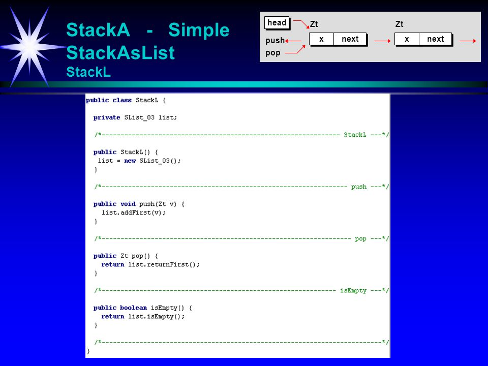 StackA - Simple StackAsList StackL x x next x x Zt head push pop