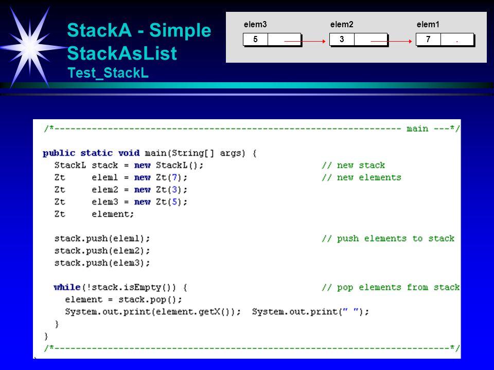 StackA - Simple StackAsList Test_StackL 5 5 3 3 elem3elem2 7 7.. elem1