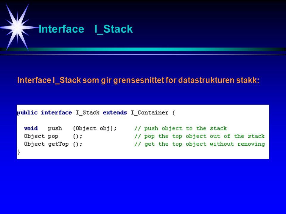 Interface I_Stack Interface I_Stack som gir grensesnittet for datastrukturen stakk: