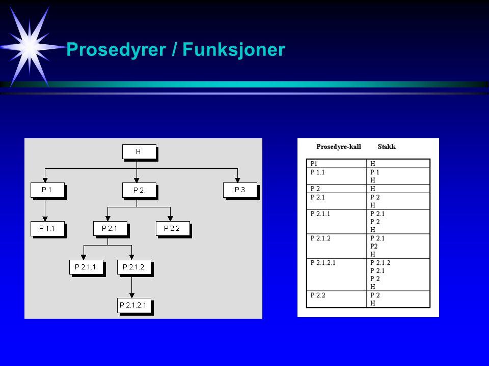 Prosedyrer / Funksjoner