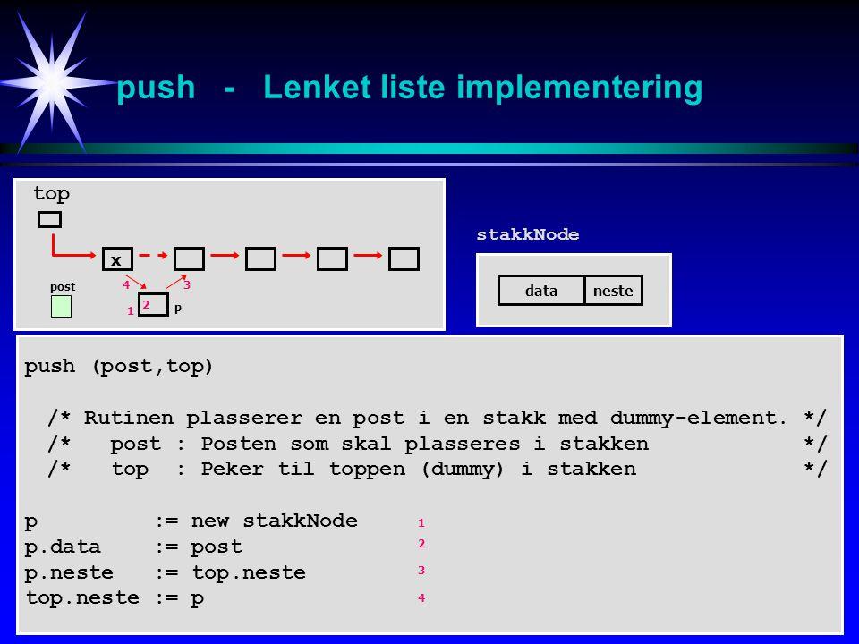 pop - Lenket liste implementering x top dataneste pop (post,top) /* Rutinen returnerer og sletter en post i en stakk.*/ /* post : Posten som skal returneres fra stakken */ /* top : Peker til toppen (dummy) i stakken */ IF top.neste = null tom := true ELSE tom := false p := top.neste post := p.data top.neste := p.neste delete(p) ENDIF stakkNode post p 1 2 3 1 2 3