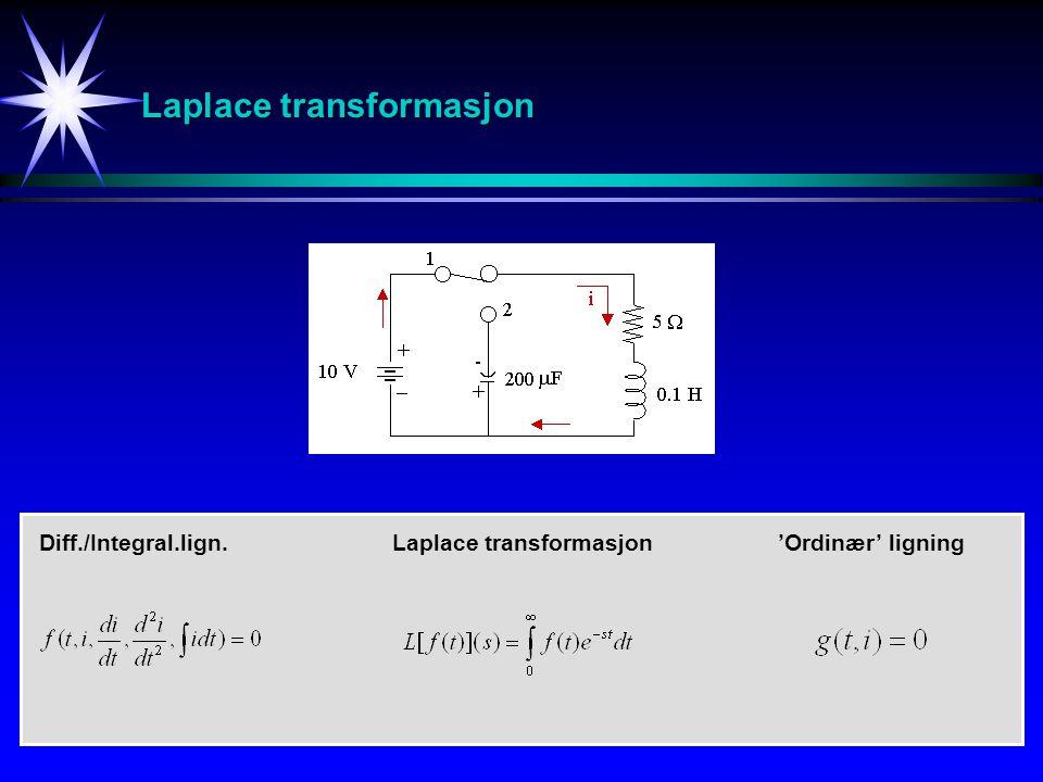 Laplace transformasjon Diff./Integral.lign.'Ordinær' ligningLaplace transformasjon