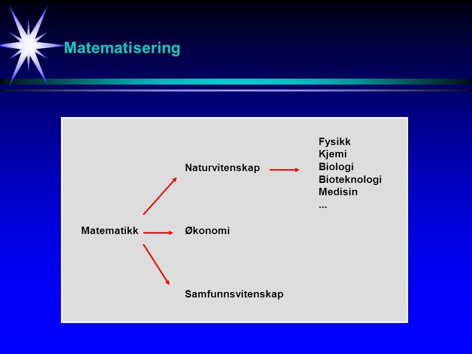 Matematisering Matematikk Naturvitenskap Økonomi Samfunnsvitenskap Fysikk Kjemi Biologi Bioteknologi Medisin...