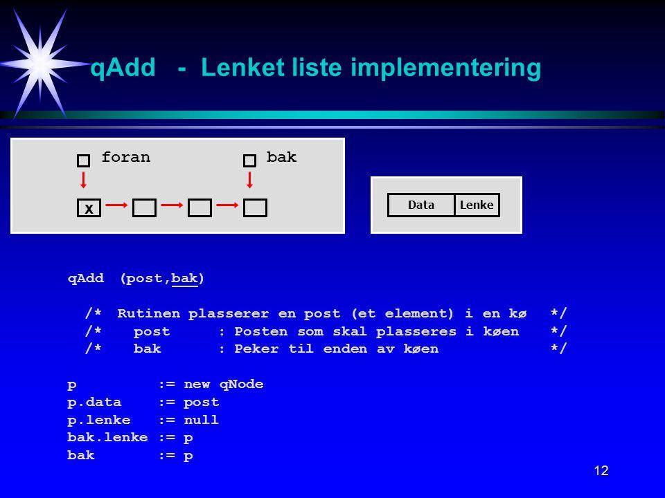 12 qAdd - Lenket liste implementering qAdd (post,bak) /*Rutinen plasserer en post (et element) i en kø */ /*post:Posten som skal plasseres i køen*/ /*bak:Peker til enden av køen*/ p := new qNode p.data := post p.lenke := null bak.lenke := p bak := p foran DataLenke bak x