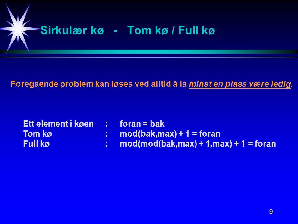 9 Sirkulær kø - Tom kø / Full kø Foregående problem kan løses ved alltid å la minst en plass være ledig.