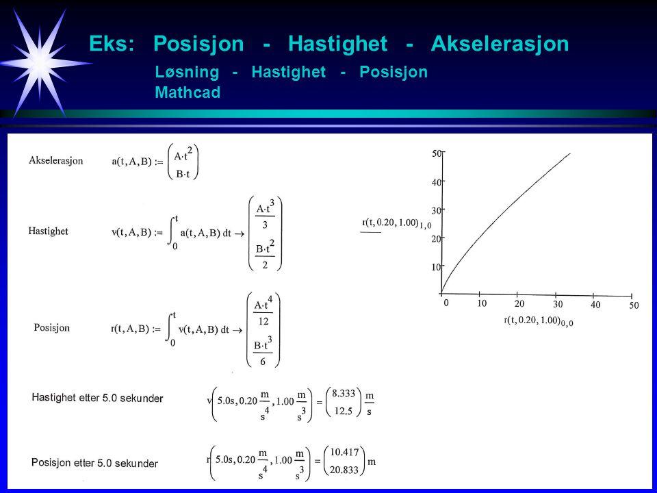 Eks: Posisjon - Hastighet - Akselerasjon Løsning - Hastighet - Posisjon Mathcad