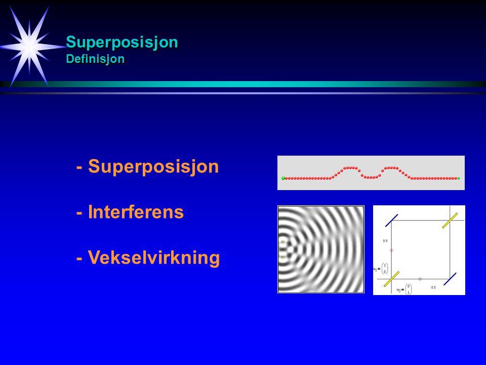 Superposisjon Eksempel Eksempel på vekselvirkning mellom bølger: -To eller flere bølger møter hverandre -En bølge treffer på et annet medium og vi får vekselvirkning mellom innkommende og reflektert bølge