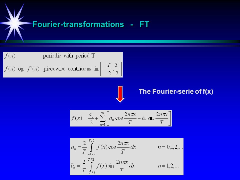 Fourier-transformations - FT The Fourier-serie of f(x)