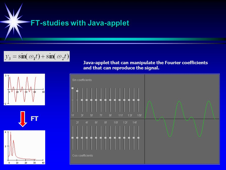 FT-studies with Java-applet FT Java-applet that can manipulate the Fourier coefficients and that can reproduce the signal.