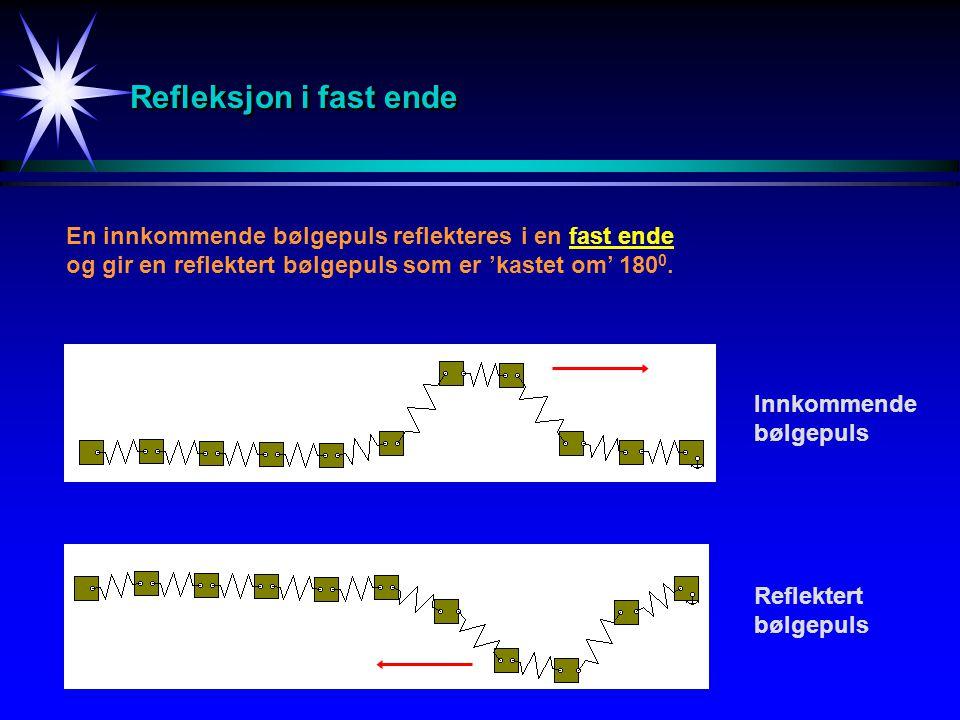 Refleksjon i fast ende En innkommende bølgepuls reflekteres i en fast ende og gir en reflektert bølgepuls som er 'kastet om' 180 0. Innkommende bølgep