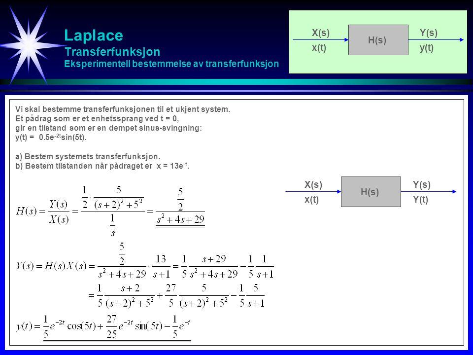 Laplace Transferfunksjon Eksperimentell bestemmelse av transferfunksjon X(s)Y(s) x(t)Y(t) H(s) Vi skal bestemme transferfunksjonen til et ukjent syste