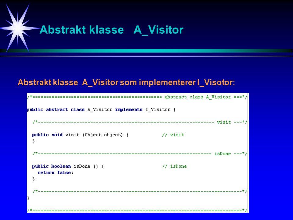 Abstrakt klasse A_Visitor Abstrakt klasse A_Visitor som implementerer I_Visotor: