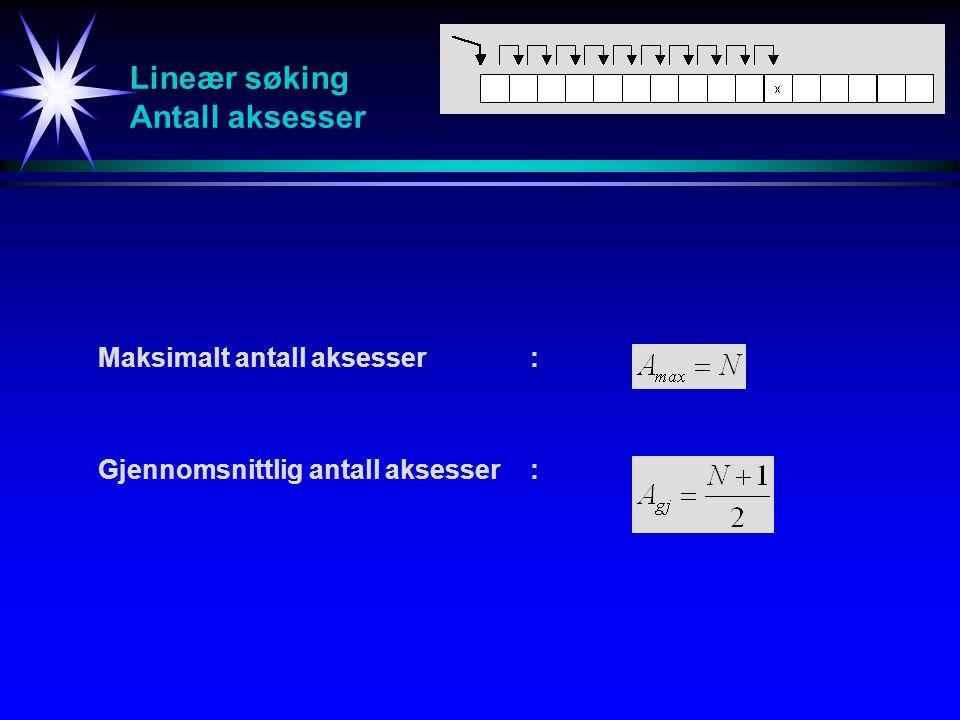 Lineær søking Antall aksesser Maksimalt antall aksesser: Gjennomsnittlig antall aksesser:
