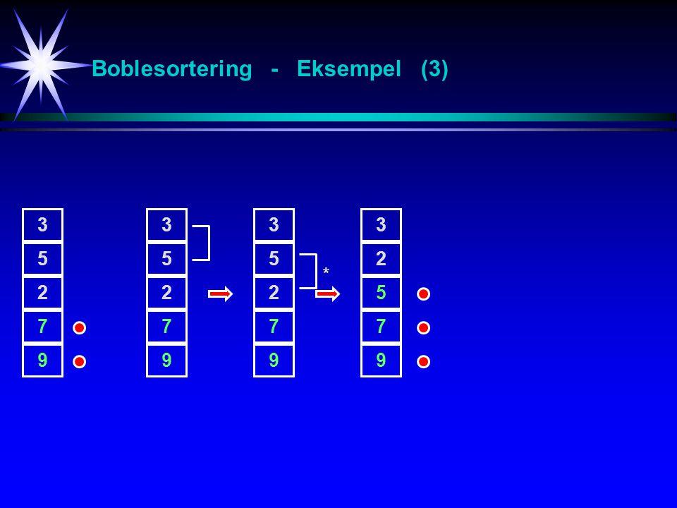 3 5 2 7 9 3 5 2 7 9 3 5 2 7 9 3 2 5 7 9 * Boblesortering - Eksempel (3)