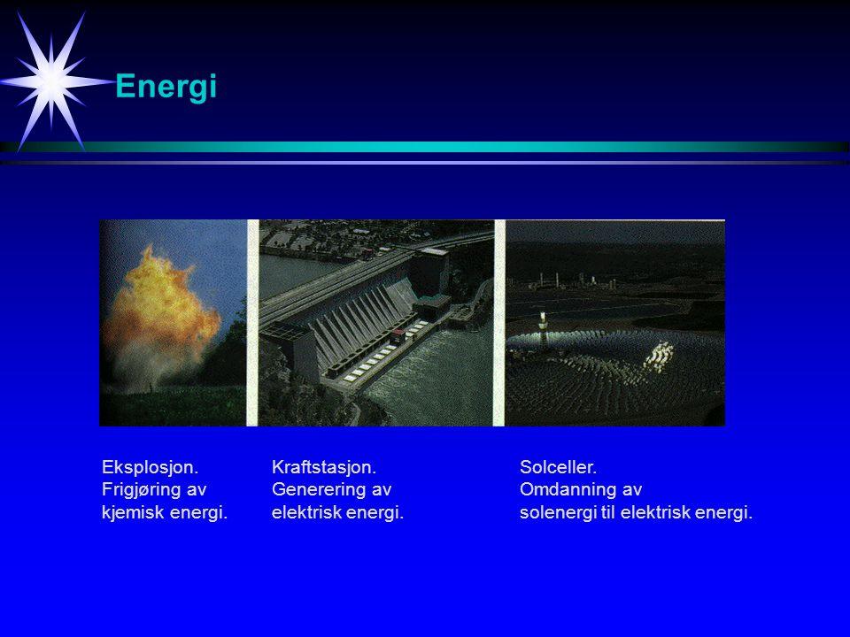 Energi Eksplosjon. Frigjøring av kjemisk energi. Kraftstasjon. Generering av elektrisk energi. Solceller. Omdanning av solenergi til elektrisk energi.