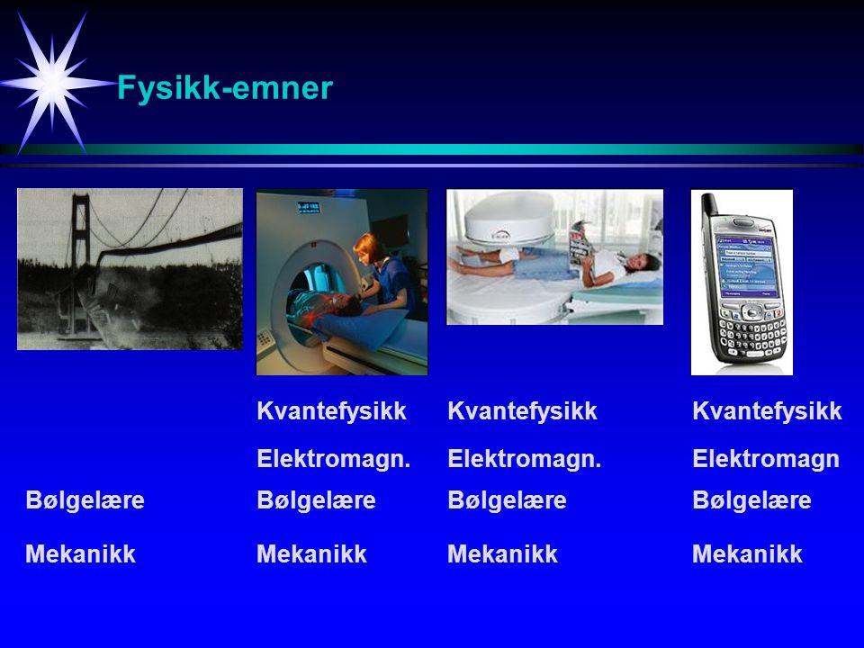 Fysikk-emner Mekanikk Bølgelære Elektromagn. Kvantefysikk Bølgelære