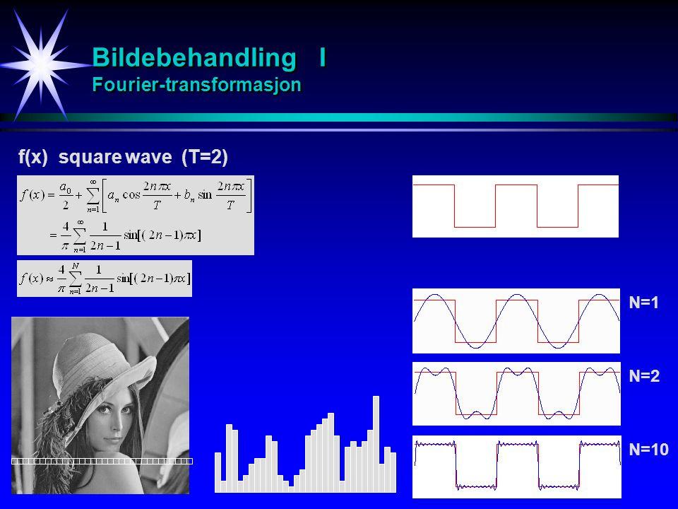 Bildebehandling I Fourier-transformasjon f(x) square wave (T=2) N=2 N=10 N=1