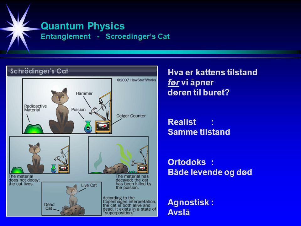 Quantum Physics Entanglement - Scroedinger's Cat Hva er kattens tilstand før vi åpner døren til buret? Realist: Samme tilstand Ortodoks : Både levende