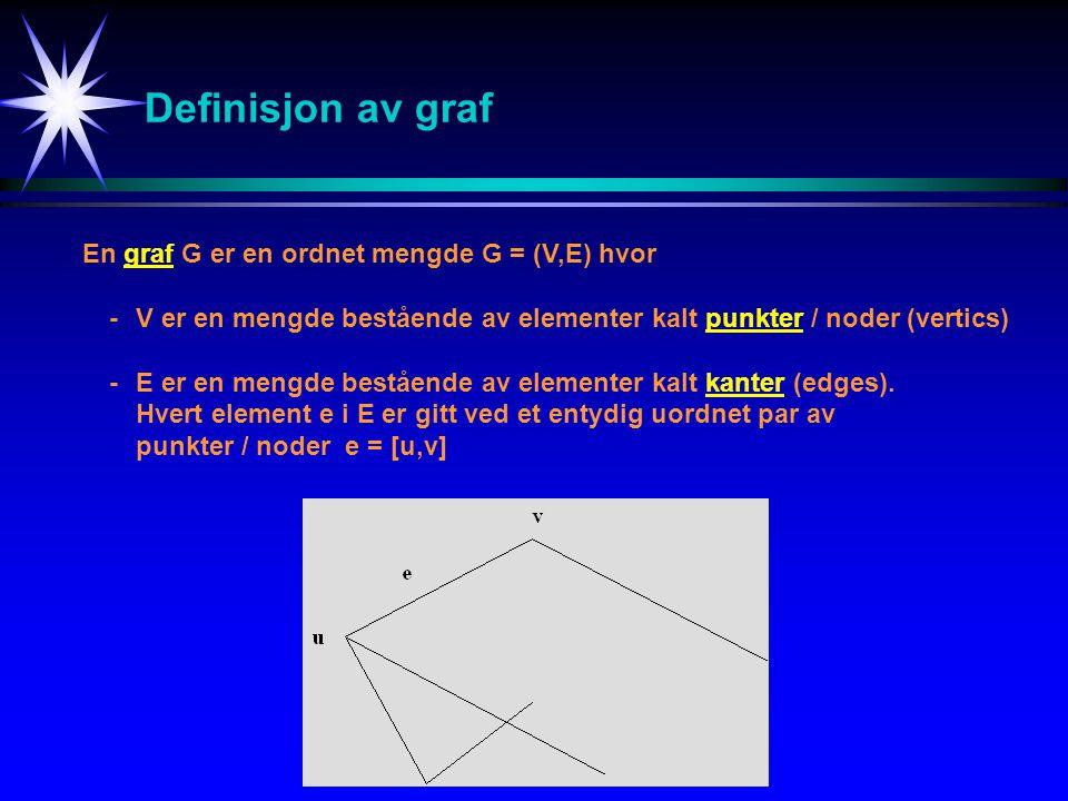 Nabo-matrise for uordnet graf a b c d e a 0 1 0 1 1 b 1 0 0 0 1 A = c 0 0 0 1 0 d 1 0 1 0 0 e 1 1 0 0 0 GrafNabo-matrise Utsagnet: Det finnes en e  E slik at e = [v i,v j ] er ekvivalent med utsagnet: Det finnes en e  E slik at e = [v j,v i ].