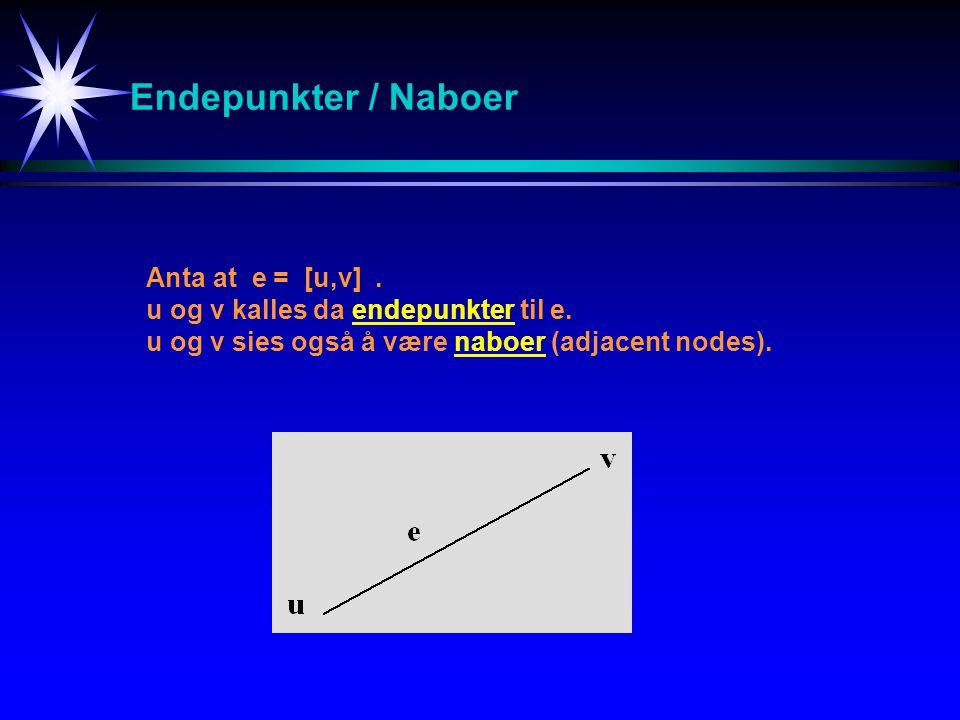 1234 1inf5infinf 273infinf 3inf3infinf 44416 distprevQuvalt 144129 2432 314 40undef Dijkstra (source,n) FOR v := 1 TO n DO dist[v] := infinity prev[v]:= undefined ENDFOR dist[source] := 0 Q :=set of all nodes in Graph finish:= false WHILE Q is not empty AND not finished DO u := vertex in Q with smallest dist IF dist[u] = infinity THEN finished := true ELSE remove u from Q FOR each neghbour v of u DO alt := dist[u] + dist_between(u,v) IF alt < dist[v] dist[v] := alt prev[v]:= u decrease_key v in Q ENDIF ENDFOR ENDWHILE Korteste-vei algoritme Dijkstra - Eks Nabo til node 2 1 2 3 4 2 5 7 3 1 4 1234 1inf5infinf 273infinf 3inf3infinf 44inf1inf distprevQuvalt 1442111 243 314 40undef distprevQuvalt 144246 243 314 462