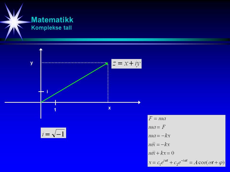 Matematikk Komplekse tall 1 i x y