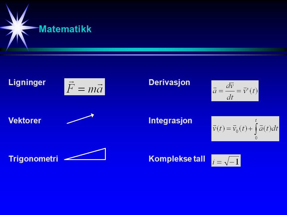Matematikk Ligninger Vektorer Trigonometri Derivasjon Integrasjon Komplekse tall