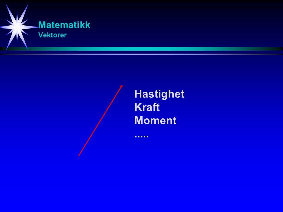 Matematikk Vektorer Hastighet Kraft Moment.....