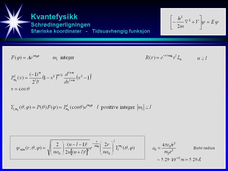 Kvantefysikk Schrødingerligningen Sfæriske koordinater - Tidsuavhengig funksjon Bohr radius