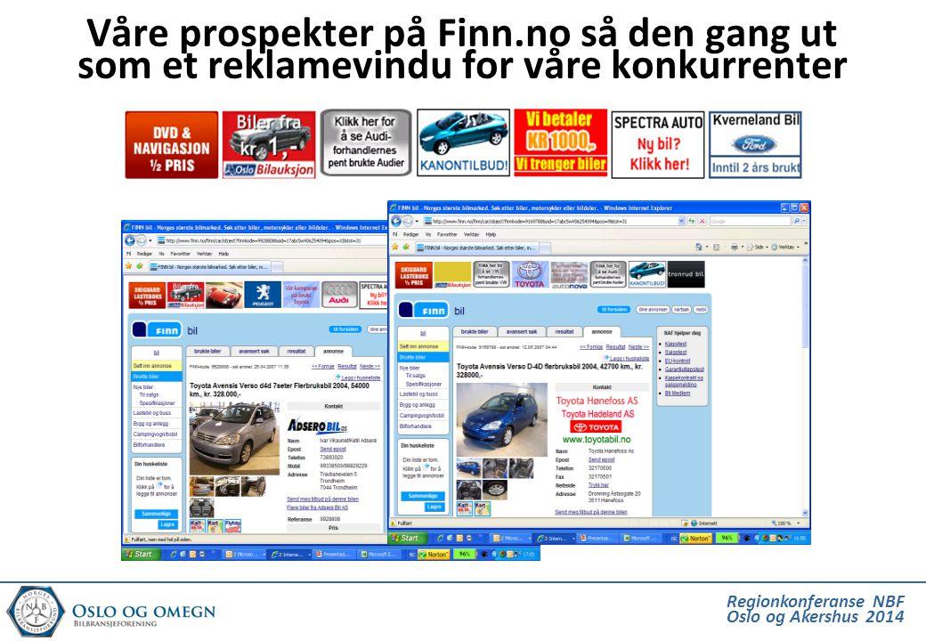 Regionkonferanse NBF Oslo og Akershus 2014 Våre prospekter på Finn.no så den gang ut som et reklamevindu for våre konkurrenter