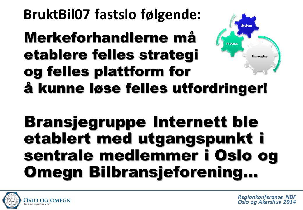 Regionkonferanse NBF Oslo og Akershus 2014 BruktBil07 fastslo følgende: Merkeforhandlerne må etablere felles strategi og felles plattform for å kunne løse felles utfordringer.