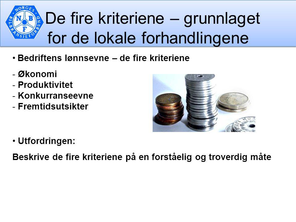 De fire kriteriene – grunnlaget for de lokale forhandlingene Bedriftens lønnsevne – de fire kriteriene - Økonomi - Produktivitet - Konkurranseevne - F