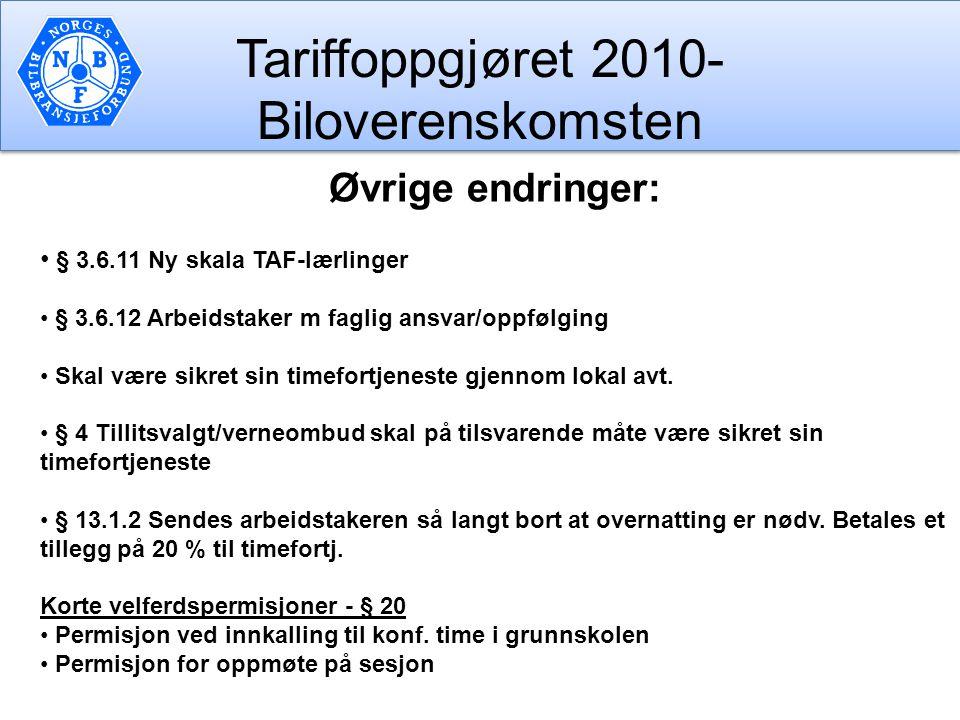 Tariffoppgjøret 2010- Biloverenskomsten Øvrige endringer: § 3.6.11 Ny skala TAF-lærlinger § 3.6.12 Arbeidstaker m faglig ansvar/oppfølging Skal være s