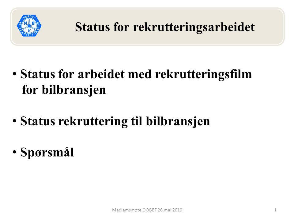 1Medlemsmøte OOBBF 26.mai 2010 Status for rekrutteringsarbeidet Status for arbeidet med rekrutteringsfilm for bilbransjen Status rekruttering til bilbransjen Spørsmål