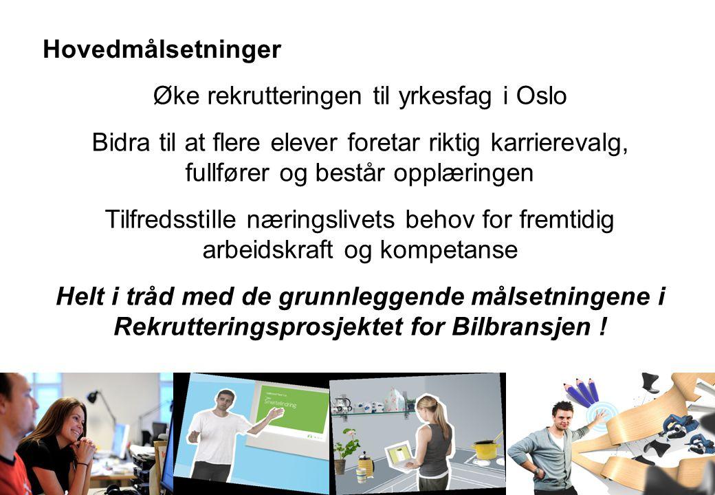 Oslo og Omegn Bilbransjeforening Medlemsmøte 20.oktober 2009 Hovedmålsetninger Øke rekrutteringen til yrkesfag i Oslo Bidra til at flere elever foretar riktig karrierevalg, fullfører og består opplæringen Tilfredsstille næringslivets behov for fremtidig arbeidskraft og kompetanse Helt i tråd med de grunnleggende målsetningene i Rekrutteringsprosjektet for Bilbransjen !