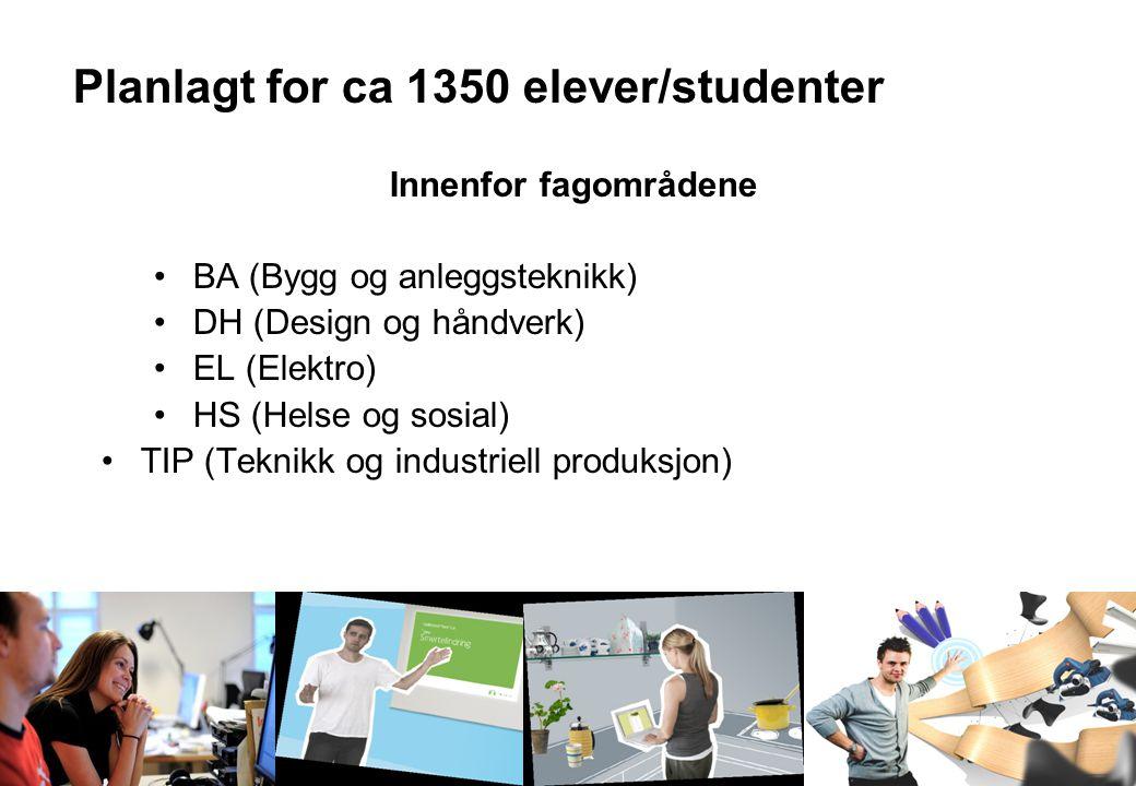 Oslo og Omegn Bilbransjeforening Medlemsmøte 20.oktober 2009 Planlagt for ca 1350 elever/studenter Innenfor fagområdene BA (Bygg og anleggsteknikk) DH (Design og håndverk) EL (Elektro) HS (Helse og sosial) TIP (Teknikk og industriell produksjon)