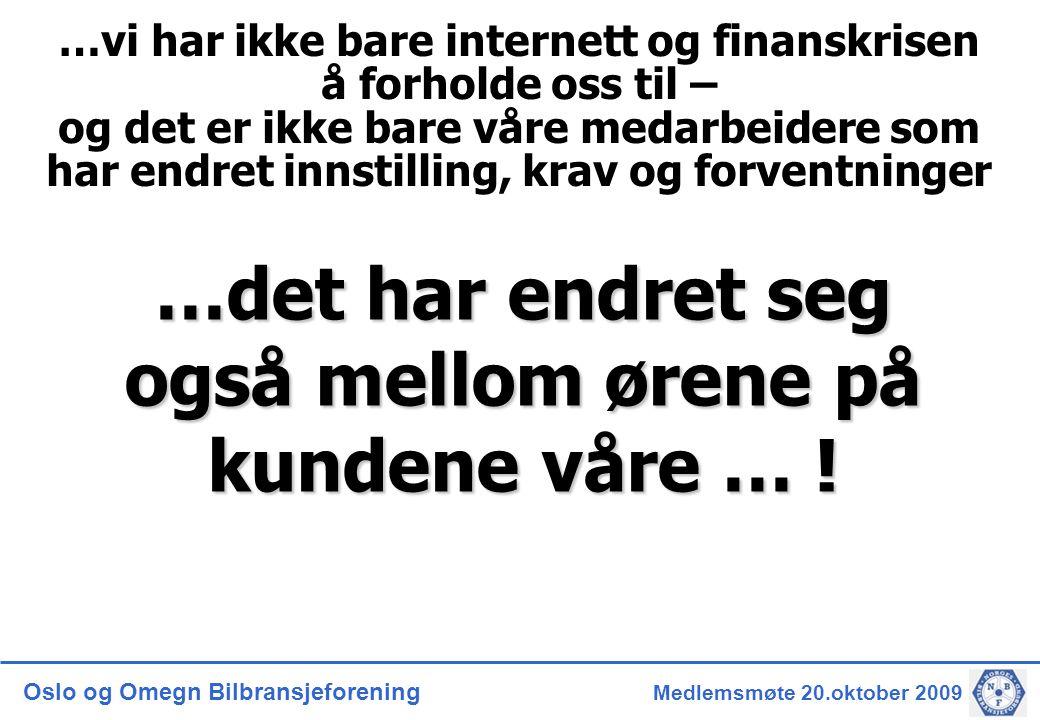 Oslo og Omegn Bilbransjeforening Medlemsmøte 20.oktober 2009 …det har endret seg også mellom ørene på kundene våre … .