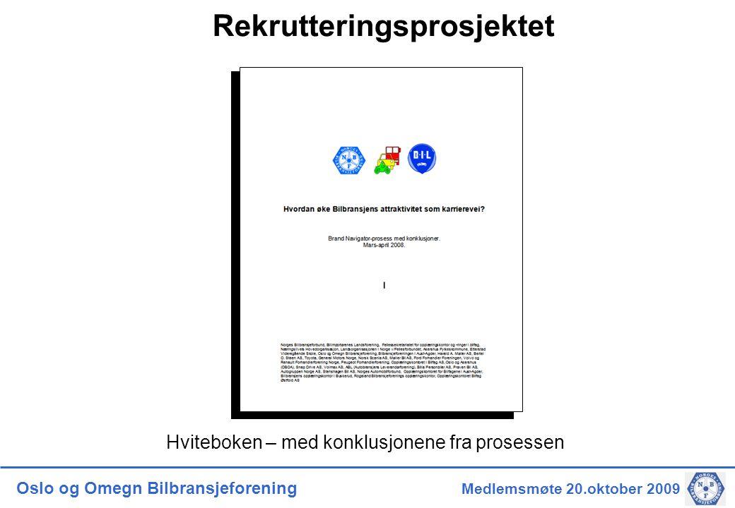 Oslo og Omegn Bilbransjeforening Styremøte 17.juni 2009 Pågående arbeid/prosesser i Rekrutteringsprosjektet