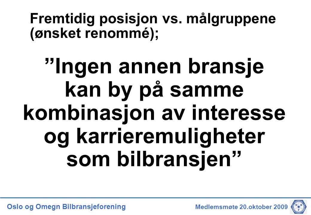 Oslo og Omegn Bilbransjeforening Medlemsmøte 20.oktober 2009 Rekrutteringsprosjektet – pågående prosesser Rammebetingelser for inntak av lærlinger i bedriftene: Også bilbransjen er inne i en svært krevende tid, og arbeidet opp mot myndighetene knyttet til både de økonomiske rammebetingelsene, men også for gjennomføring av en læretid som gir fagarbeidere som bransjen kan gjøre seg nytte av, står høyt på agendaen.