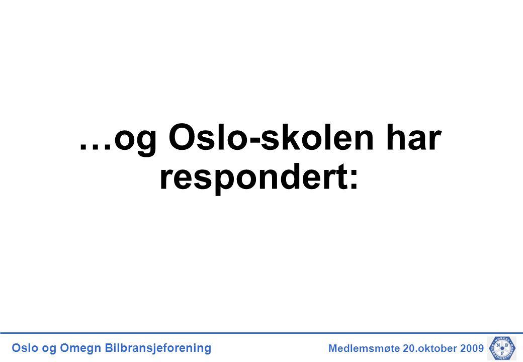 Oslo og Omegn Bilbransjeforening Medlemsmøte 20.oktober 2009 …og Oslo-skolen har respondert: