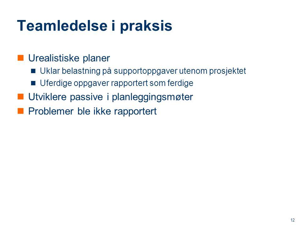 ICT Teamledelse i praksis Urealistiske planer Uklar belastning på supportoppgaver utenom prosjektet Uferdige oppgaver rapportert som ferdige Utviklere