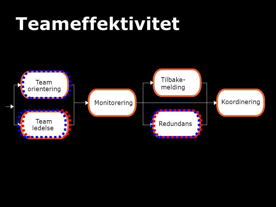 Team orientering Team ledelse Monitorering Tilbake- melding Koordinering Redundans Teameffektivitet