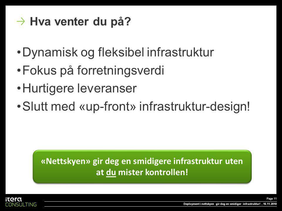 Dynamisk og fleksibel infrastruktur Fokus på forretningsverdi Hurtigere leveranser Slutt med «up-front» infrastruktur-design.