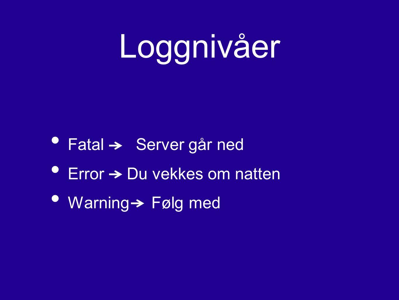 Loggnivåer Fatal Server går ned Error Du vekkes om natten Warning Følg med