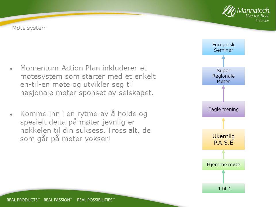 Momentum Action Plan inkluderer et møtesystem som starter med et enkelt en-til-en møte og utvikler seg til nasjonale møter sponset av selskapet. Komme
