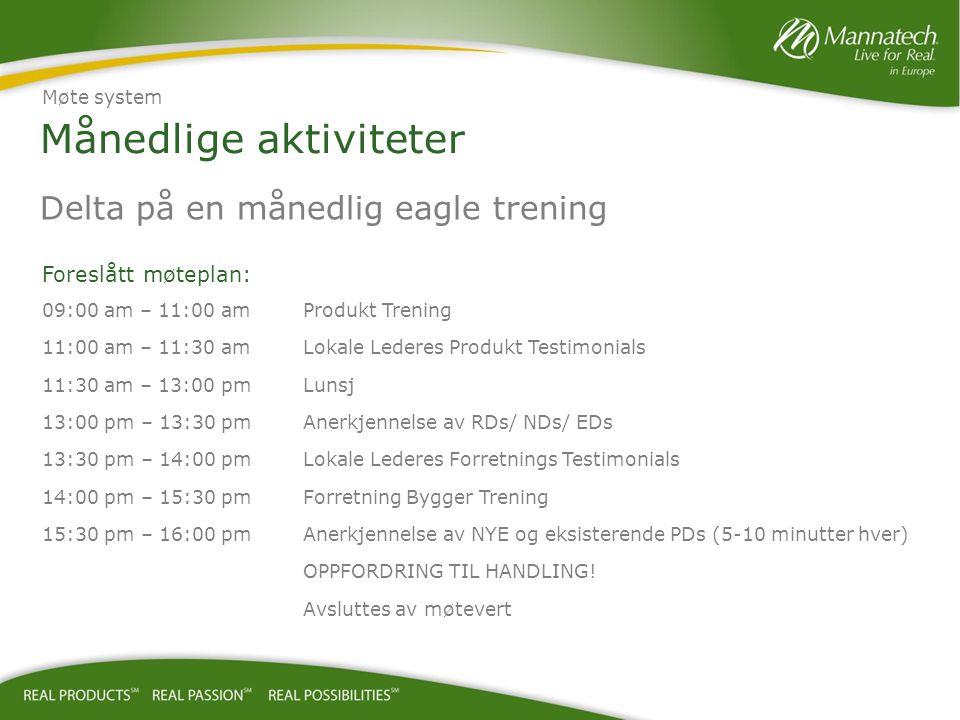 Månedlige aktiviteter Delta på en månedlig eagle trening Foreslått møteplan: 09:00 am – 11:00 amProdukt Trening 11:00 am – 11:30 amLokale Lederes Prod
