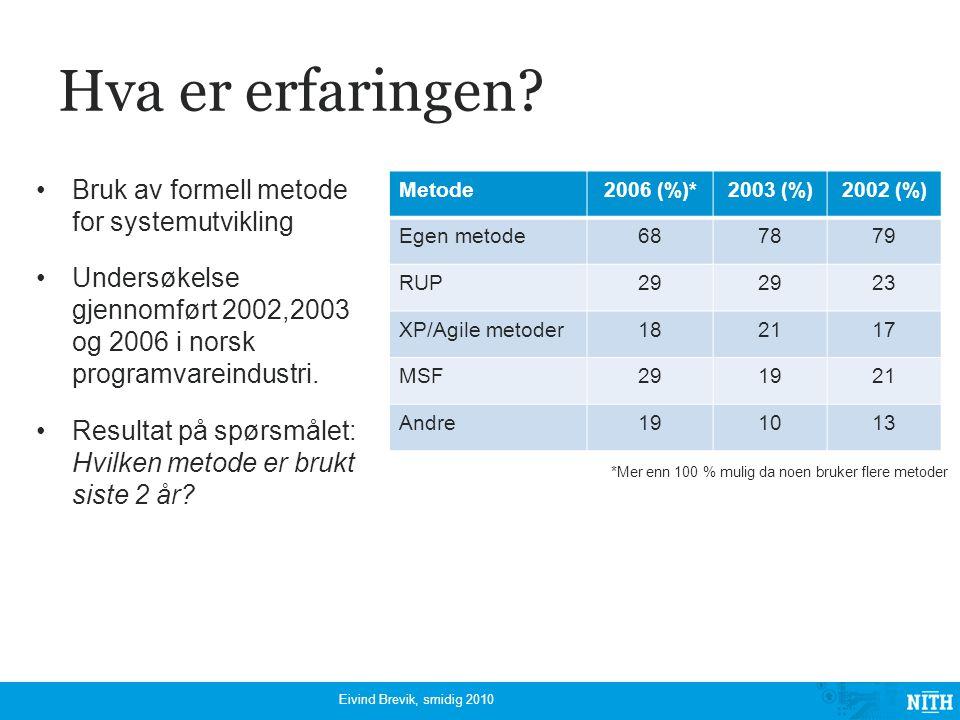 Hva er erfaringen? Bruk av formell metode for systemutvikling Undersøkelse gjennomført 2002,2003 og 2006 i norsk programvareindustri. Resultat på spør